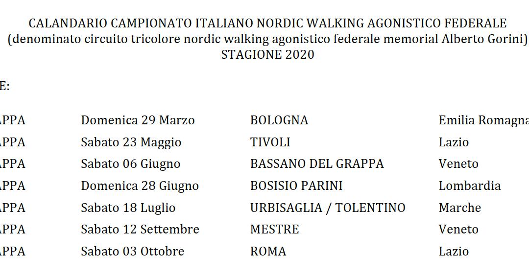 Approvato il nuovo calendario del Circuito Tricolore Nordic Walking Agonistico 2020