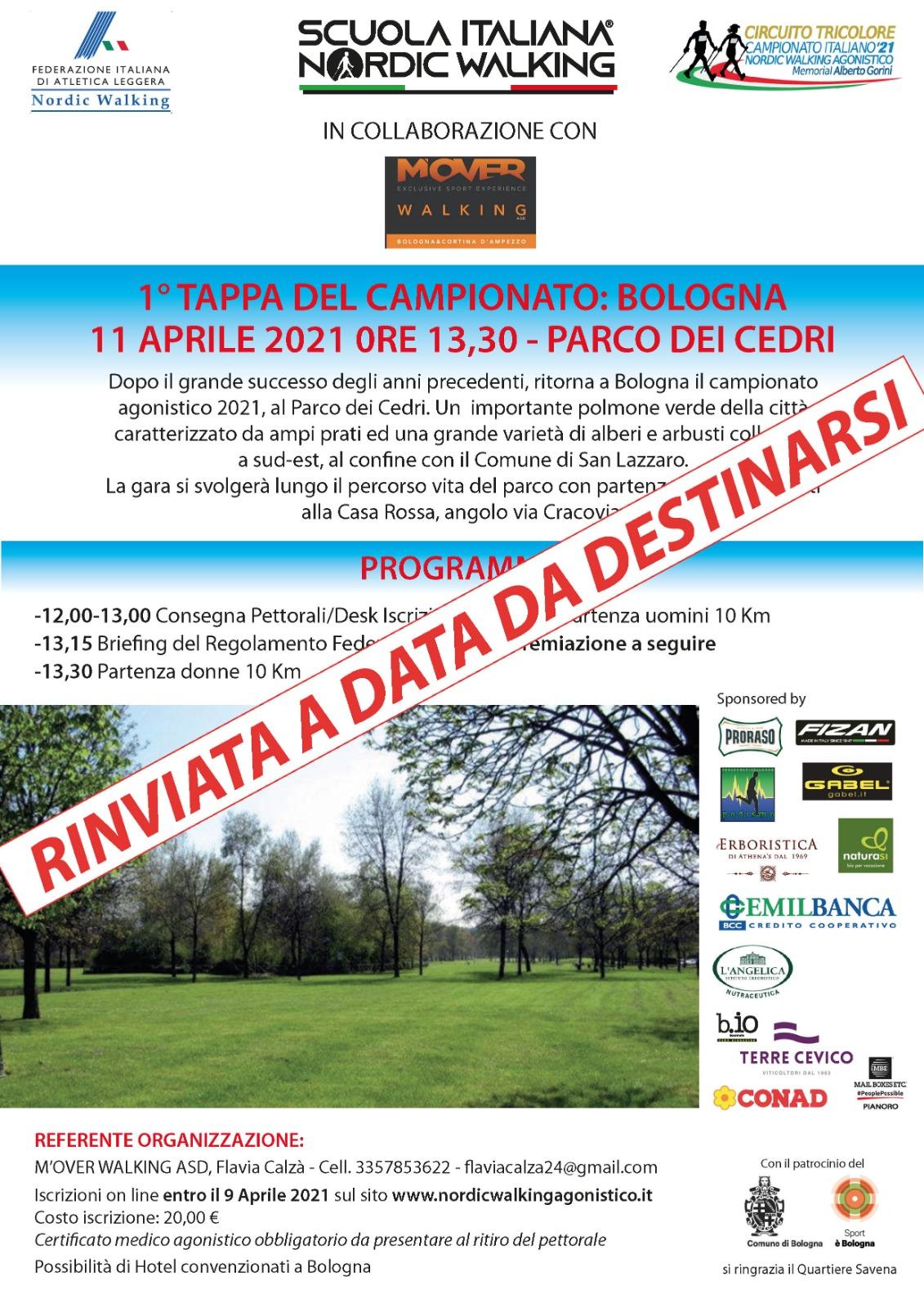 1 Tappa 2021 Bologna 11 Aprile 2021 rinviata a data da destinarsi.